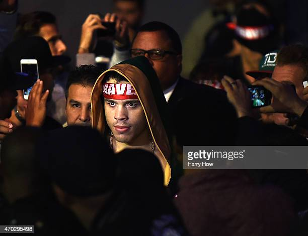 Julio Cesar Chavez Jr makes his way to the ring to fight Andrzej Fonfara during the WBC light heavyweight title fight at StubHub Center on April 18...