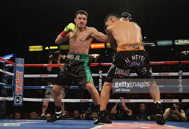 Julio Cesar Chavez Jr prepares to throw a right hand at Brian Vera during their Light Heavyweight bout at StubHub Center on September 28 2013 in Los...