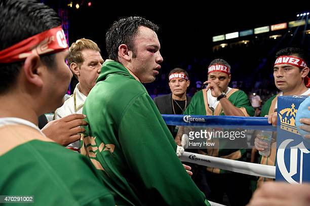Julio Cesar Chavez Jr reacts to his ninth round TKO loss to Andrzej Fonfara to lose the WBC light heavyweight title fight at StubHub Center on April...