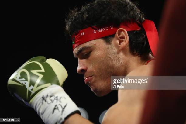 Julio Cesar Chavez Jr stands in his corner before facing Canelo Alvarez during their catchweight bout at TMobile Arena on May 6 2017 in Las Vegas...
