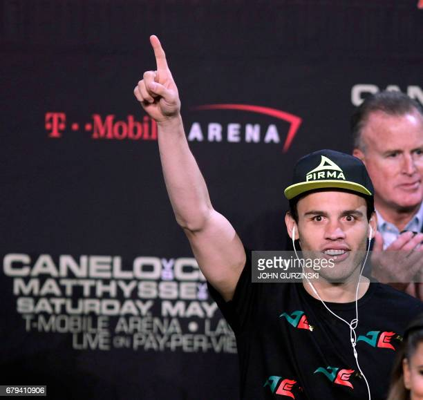 Julio Cesar Chavez Jr waves to fans as he arrives for his weighin with Saul 'Canelo' Alvarez Friday May 5 2017 at the MGM Grand Arena in Las Vegas...