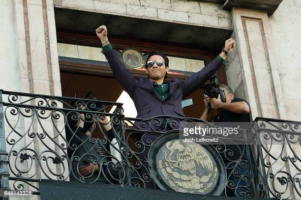 Julio Cesar Chavez poses for the crowd during a press tour at the Plaza Mexico on February 24 2017 in Lynwood California