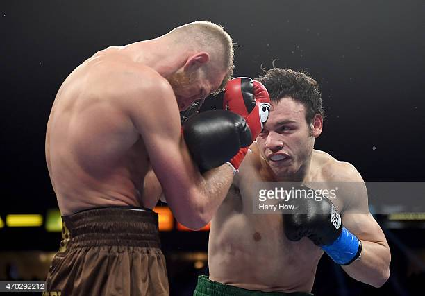 Julio Cesar Chavez punches Jr Andrzej Fonfara during the WBC light heavyweight title fight at StubHub Center on April 18 2015 in Los Angeles...