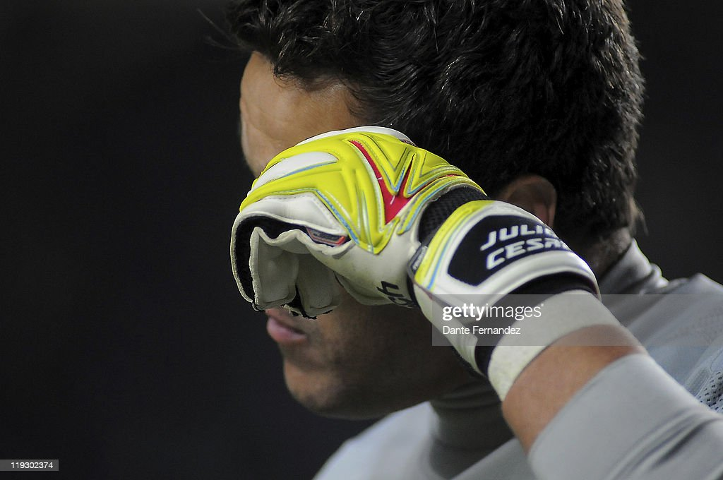 Julio Cesar from Brasil's leaves the field after loosing with from Paraguay's during their match as part the Copa America 2011 at the Only Stadium on July 17,2011 in Buenos Aires,Argentina.