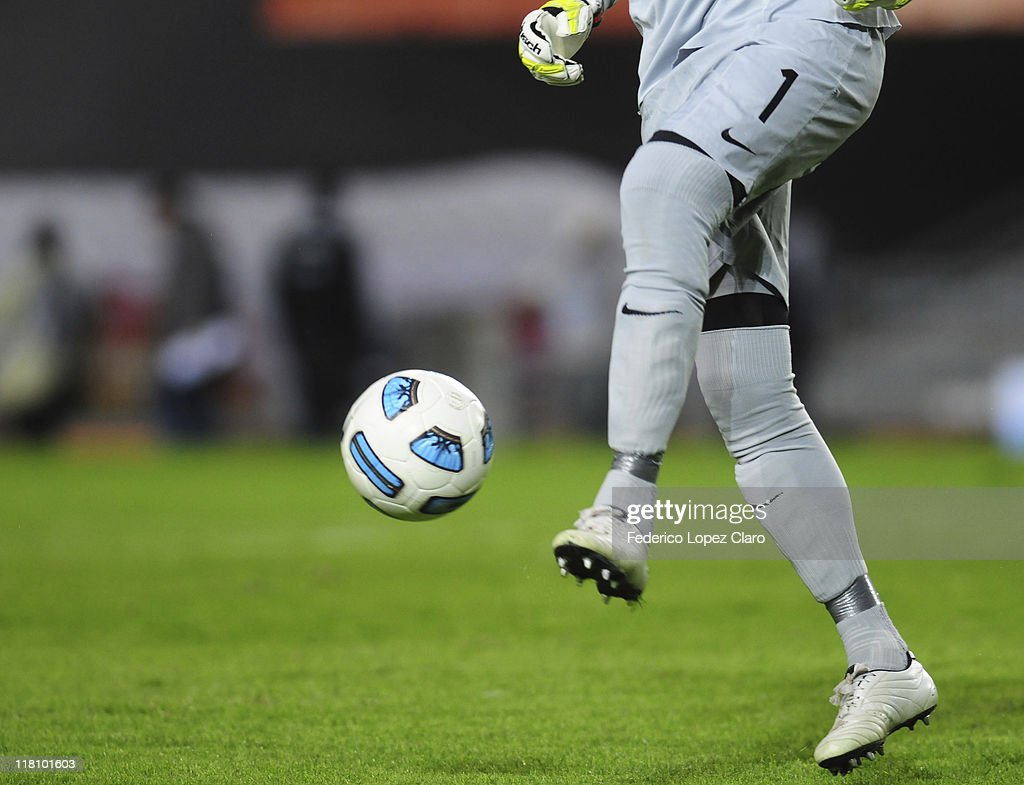 Julio Cesar, from Brazil, controls the ball during a matchg between Brazil and Venezuela at Ciudad de La Plata Stadium as part of the group B of Copa America Argentina 2011 on July 03, 2011 in La Plata, Argentina.
