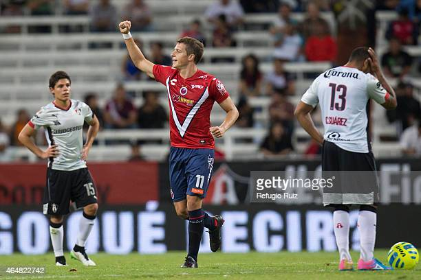 Julio Cesar Furch celebrates the second goal for his team during a match between Atlas and Veracruz as part of 8th round Clausura 2015 Liga MX at...