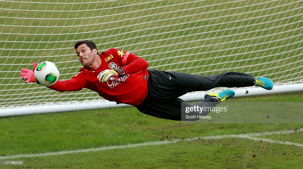 Julio Cesar makes a save during a Brazil training session ahead of their FIFA Confederations Cup 2013 Final match with Spain on June 28, 2013 in Rio de Janeiro, Brazil.
