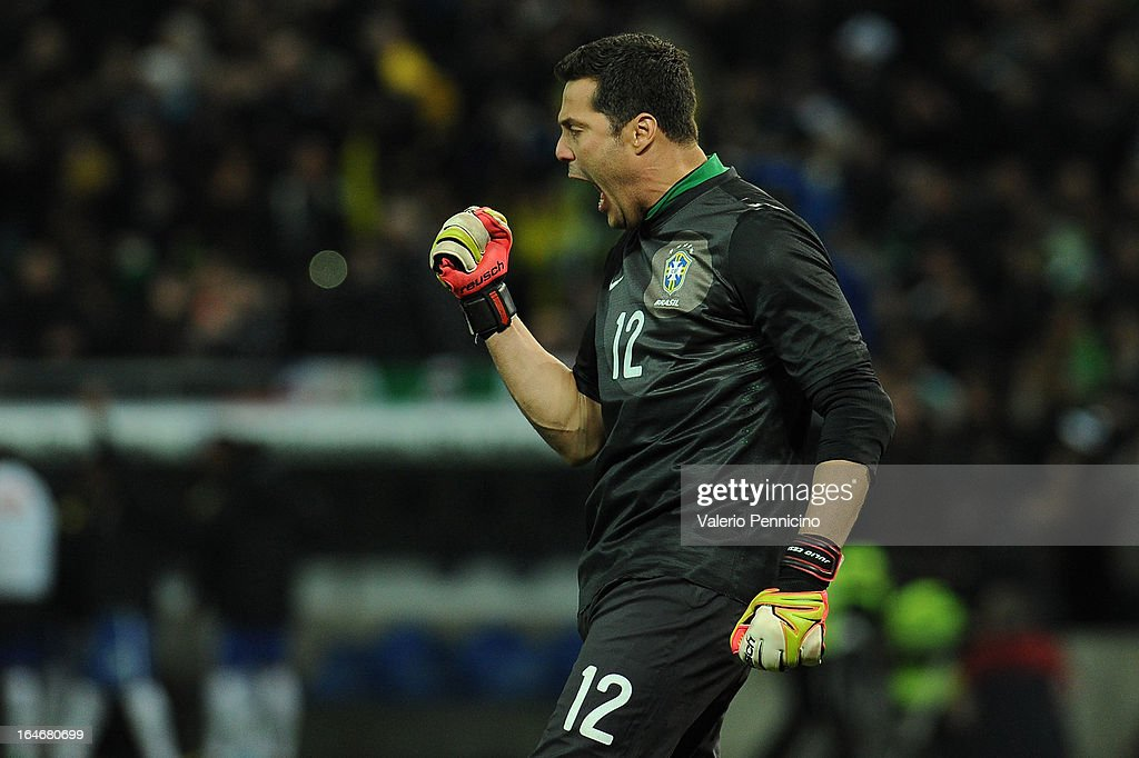 Julio Cesar of Brazil celebrates the goal of team mates during the international friendly match between Italy and Brazil on March 21, 2013 in Geneva, Switzerland.