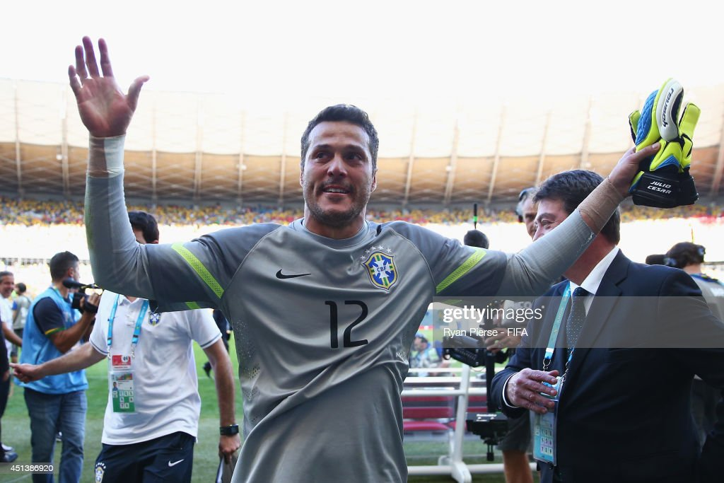 Julio Cesar of Brazil celebrates the win through a penalty shootout after the 2014 FIFA World Cup Brazil Round of 16 match between Brazil and Chile at Estadio Mineirao on June 28, 2014 in Belo Horizonte, Brazil.