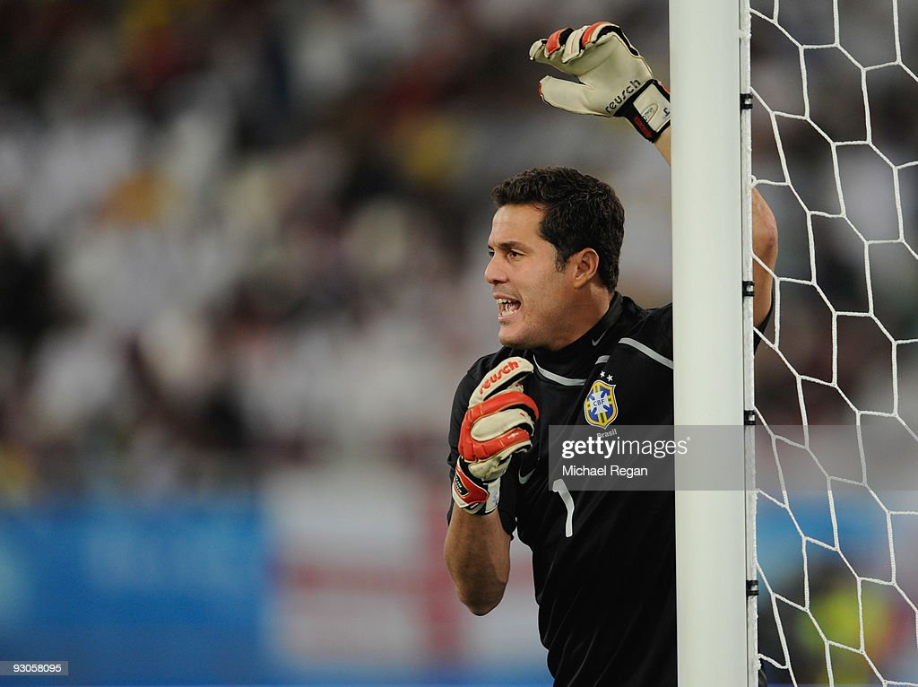 Julio Cesar of Brazil shouts instructions during the International Friendly match between Brazil and England at the Khalifa Stadium on November 14, 2009 in Doha, Qatar.
