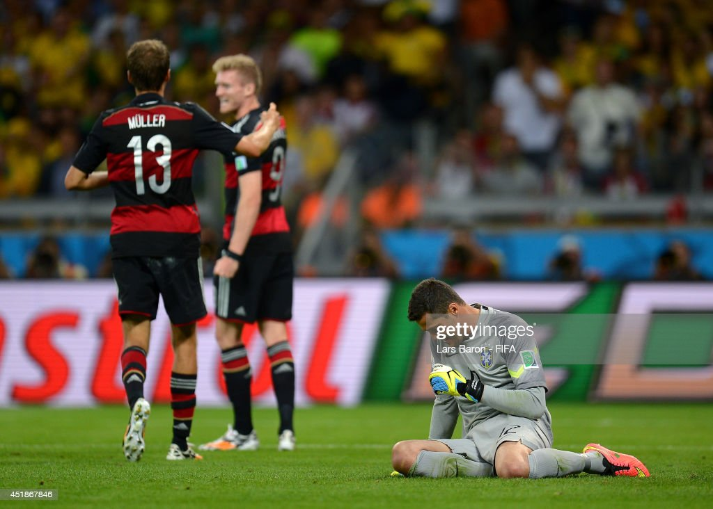 Julio Cesar (R) of Brazil shows his dejection after conceding the sixth goal to Germany during the 2014 FIFA World Cup Brazil Semi Final match between Brazil and Germany at Estadio Mineirao on July 8, 2014 in Belo Horizonte, Brazil.