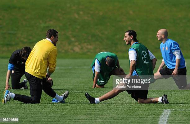 Julio Cesar of FC Internazionale and Ricardo Quaresma during a training session ahead of their UEFA champions league semifinal leg 1 match against...