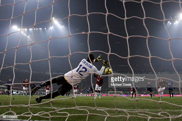 Julio Cesar of Inter saves a penalty from Ronaldhino of Milan during the Serie A match between Inter Milan and AC Milan at Stadio Giuseppe Meazza on...
