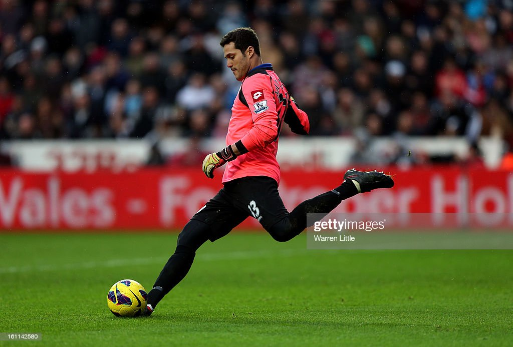 Julio Cesar of Queens Park Rangers in action during the Premier League match between Swansea City and Queens Park Rangers at Liberty Stadium on February 9, 2013 in Swansea, Wales.