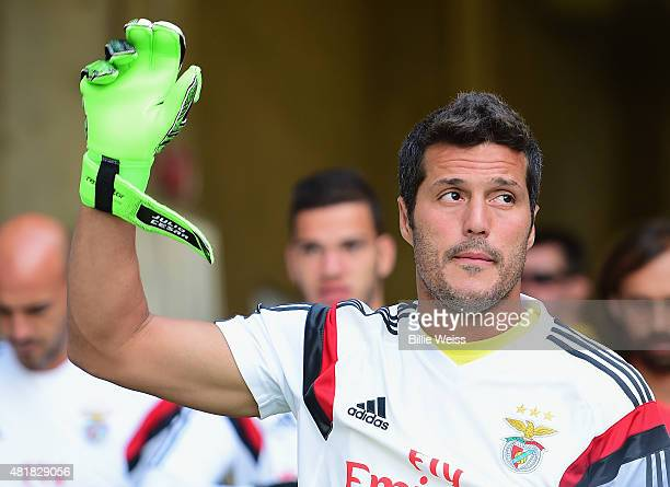 Julio Cesar of SL Benfica waves to fans before an International Champions Cup 2015 match against ACF Fiorentina at Rentschler Field on July 24 2015...