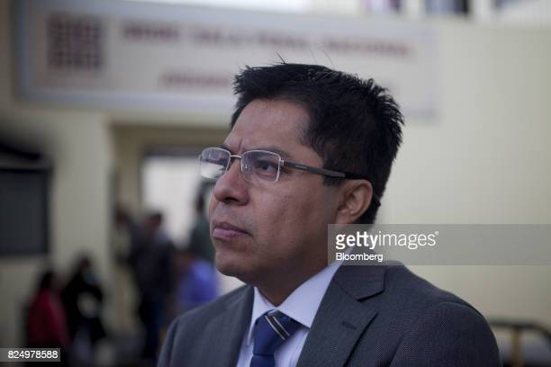 Julio Csar Espinoza attorney for former Peruvian President Ollanta Humala pauses while speaking to members of the media before a hearing at the...