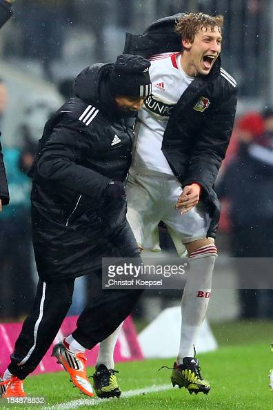 Julio Fernandez and Stefan Kiessling of Leverkusen celebrate the 21 victory after the Bundesliga match between FC Bayern Muenchen and Bayer 04...