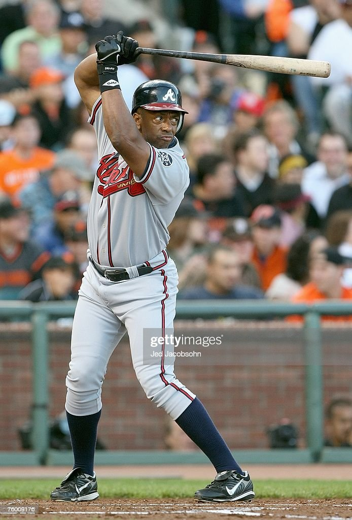 Julio Franco of the Atlanta Braves stands ready at bat against the San Francisco Giants on July 23 2007 at ATT Park in San Francisco California