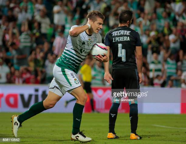 Julio Furch of Santos celebrates after scoring the first goal of his team during the sixth round match between Santos Laguna and Chivas as part of...