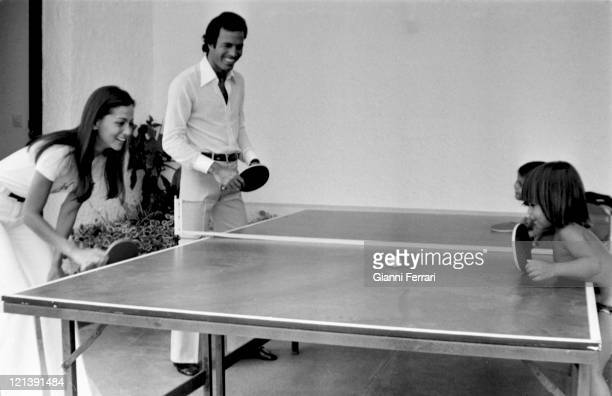 Julio Iglesias and his wife Isabel Preysler with their childrens Chabeli and Julio Jose during a holiday in Marbella 10th July 1976 Malaga Spain