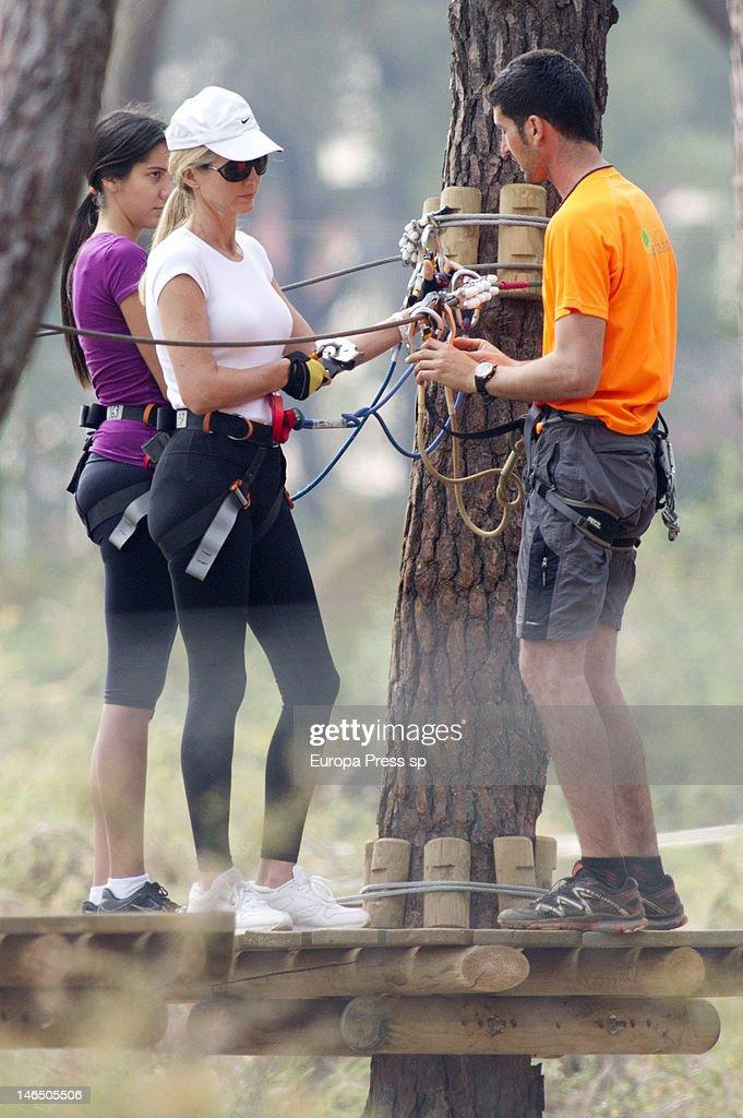 Julio Iglesias' wife Miranda Rinsjburger is seen playing with tiroline on June 5, 2012 in Marbella, Spain.