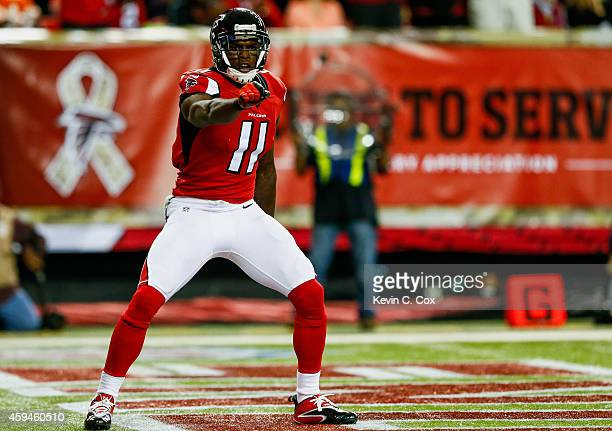 Julio Jones of the Atlanta Falcons celebraes a touchdown in the first half against the Cleveland Browns at Georgia Dome on November 23 2014 in...