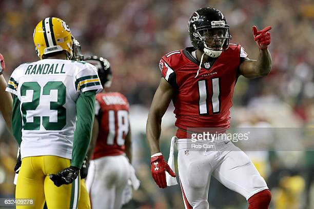 Julio Jones of the Atlanta Falcons signals a first down in the second quarter against the Green Bay Packers in the NFC Championship Game at the...