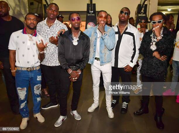 Julio Jones Offset Quavo Pierre 'Pee' Thomas and Takeoff attend the Birthday bash ATL the Pop Up edition Concert at Philips Arena on June 17 2017 in...