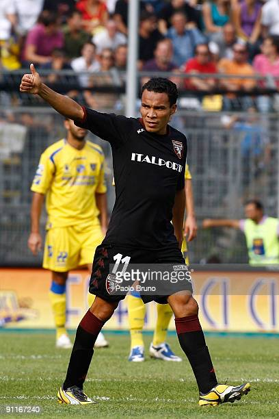Julio Leon of Torino FC celebrates after scoring the opening goal during the Serie B match between Frosinone Calcio and Torino FC at Matusa Stadium...