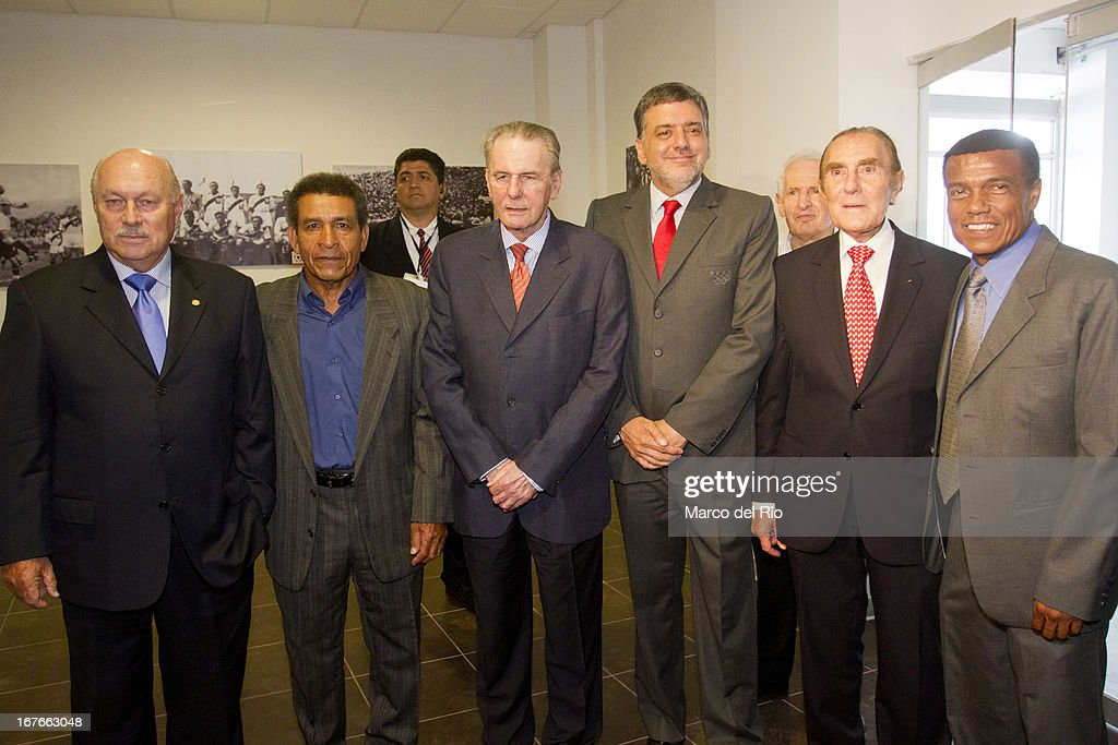 Julio Pastor, Vice President of the ADFP, former football player Hector Chumpitaz, <a gi-track='captionPersonalityLinkClicked' href=/galleries/search?phrase=Jacques+Rogge&family=editorial&specificpeople=206143 ng-click='$event.stopPropagation()'>Jacques Rogge</a>, President of OIC, Jose Qui–ones, President of the Peruvian Olympic Committee, Ivan Dibos IOC member and former football player <a gi-track='captionPersonalityLinkClicked' href=/galleries/search?phrase=Teofilo+Cubillas&family=editorial&specificpeople=2616760 ng-click='$event.stopPropagation()'>Teofilo Cubillas</a> during the Opening Ceremony of the Olympic Museum at the National Stadium of Lima as part of the third day of the 15th IOC World Conference Sports For All on April 26, 2013 in Lima, Peru.