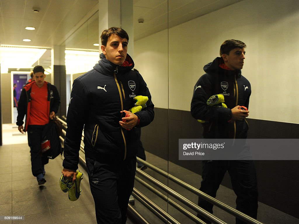 Julio Pleguezuelo of Arsenal arrives at the stadium before the match between Anderlecht and Arsenal at Constant Vanden Stock Stadium on February 9, 2016 in Brussels, Bruxelles-Capitale, Region de.