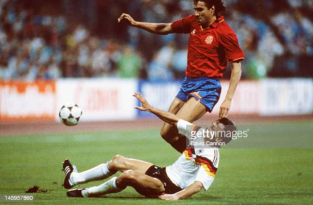 Julio Salinas of Spain is tackled by Jurgen Kohler of West Germany during the UEFA European Championships 1988 Group 1 match between West Germany and...