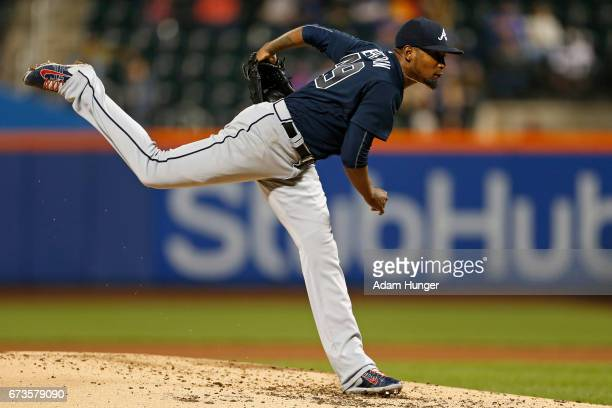 Julio Teheran of the Atlanta Braves delivers a pitch during the third inning against the New York Mets at Citi Field on April 26 2017 in the Flushing...