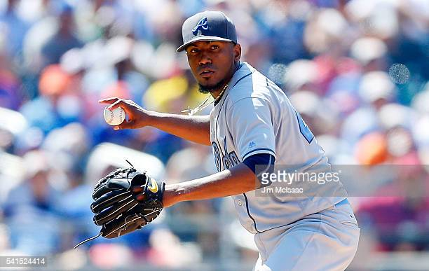 Julio Teheran of the Atlanta Braves in action against the New York Mets at Citi Field on June 19 2016 in the Flushing neighborhood of the Queens...