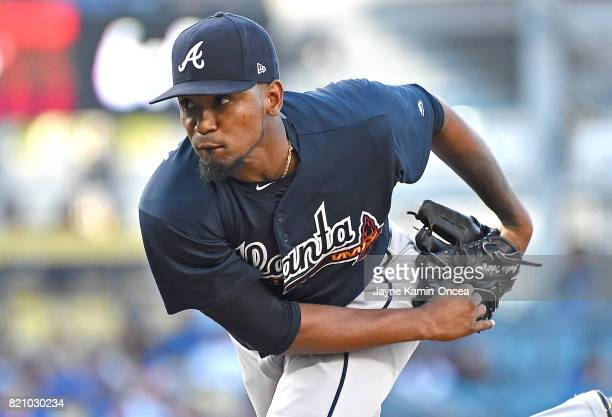 Julio Teheran of the Atlanta Braves in the second inning of the game against the Los Angeles Dodgers at Dodger Stadium on July 22 2017 in Los Angeles...