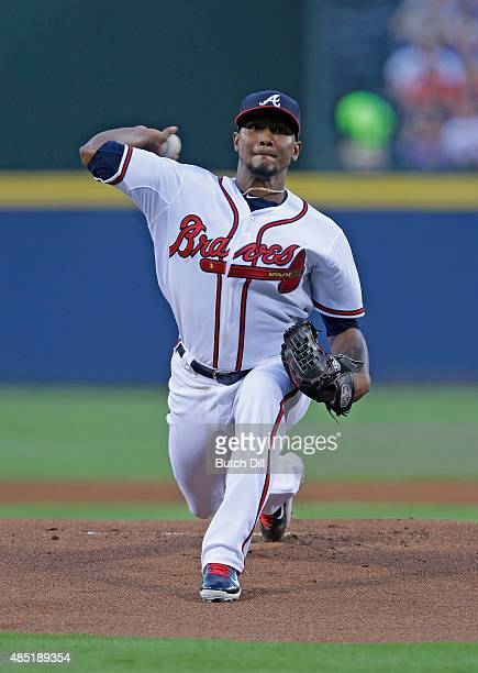 Julio Teheran of the Atlanta Braves pitches against the Arizona Diamondbacks during the first inning at Turner Field on August 14 2015 in Atlanta...