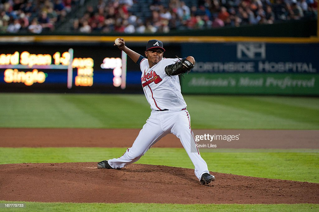 <a gi-track='captionPersonalityLinkClicked' href=/galleries/search?phrase=Julio+Teheran&family=editorial&specificpeople=7091636 ng-click='$event.stopPropagation()'>Julio Teheran</a> #49 of the Atlanta Braves pitches against the Washington Nationals during the fifth inning at Turner Field on April 29, 2013 in Atlanta, Georgia. The Braves defeated the Nationals 3-2.