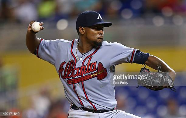 Julio Teheran of the Atlanta Braves pitches during the game against the Miami Marlins at Marlins Park on September 26 2015 in Miami Florida