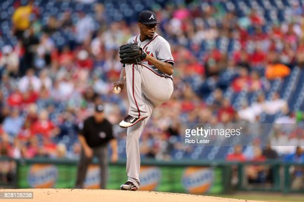 Julio Teheran of the Atlanta Braves pitches during the game against the Philadelphia Phillies at Citizens Bank Park on July 28 2017 in Philadelphia...