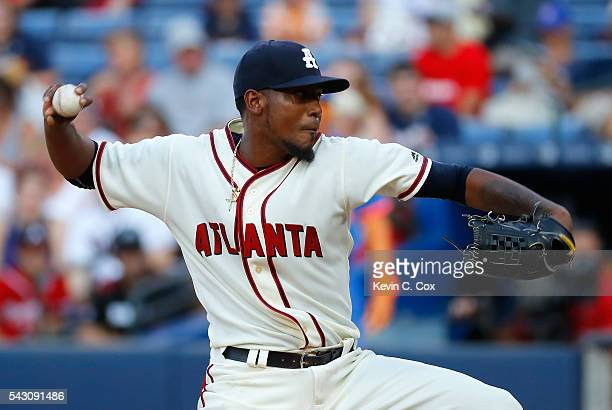 Julio Teheran of the Atlanta Braves pitches in the first inning against the New York Mets at Turner Field on June 25 2016 in Atlanta Georgia
