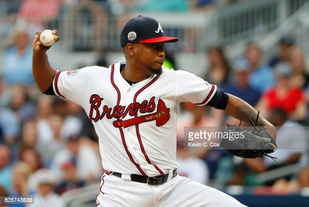 Julio Teheran of the Atlanta Braves pitches in the first inning against the Los Angeles Dodgers at SunTrust Park on August 2 2017 in Atlanta Georgia