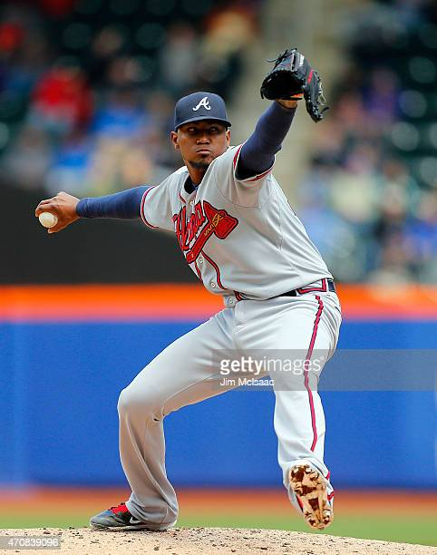 Julio Teheran of the Atlanta Braves pitches in the second inning against the New York Mets at Citi Field on April 23 2015 in the Flushing...