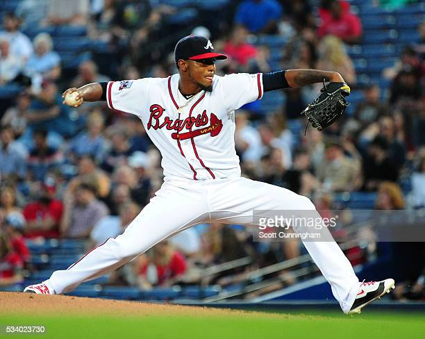 Julio Teheran of the Atlanta Braves throws a fifth inning pitch against the Milwaukee Brewers at Turner Field on May 24 2016 in Atlanta Georgia