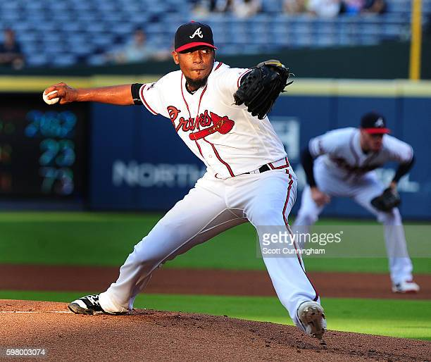 Julio Teheran of the Atlanta Braves throws a first inning pitch against the San Diego Padres at Turner Field on August 30 2016 in Atlanta Georgia
