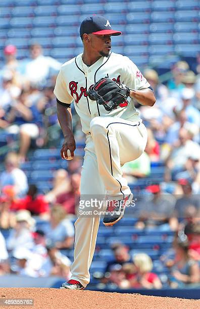 Julio Teheran of the Atlanta Braves throws a fourth inning pitch against the Philadelphia Philiies at Turner Field on September 20 2015 in Atlanta...
