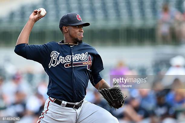 Julio Teheran of the Atlanta Braves throws a pitch during the first inning of a spring training game against the Houston Astros at Osceola County...