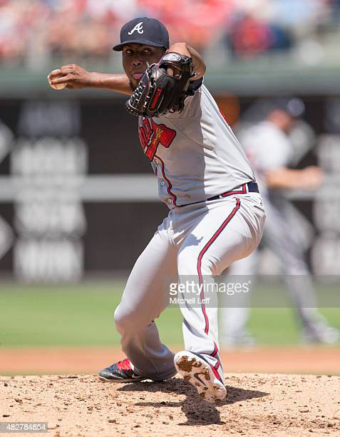 Julio Teheran of the Atlanta Braves throws a pitch in the bottom of the second inning against the Philadelphia Phillies on August 2 2015 at the...