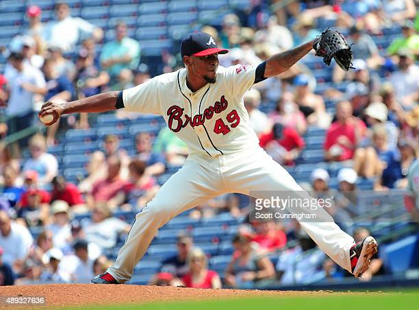 Julio Teheran of the Atlanta Braves throws a second inning pitch against the Philadelphia Philiies at Turner Field on September 20 2015 in Atlanta...