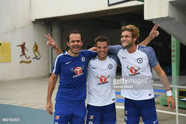Julio Tous Cesar Azpilicueta and Marcos Alonso of Chelsea during a training session at the AOTI Stadium on July 20 2017 in Beijing China