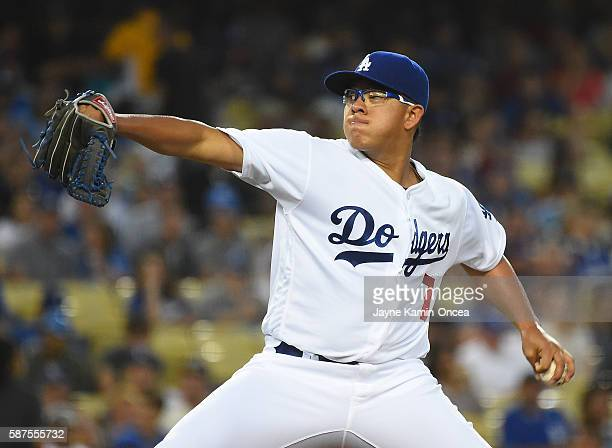 Julio Urias of the Los Angeles Dodgers in the first inning of the game against the Philadelphia Phillies at Dodger Stadium on August 8 2016 in Los...